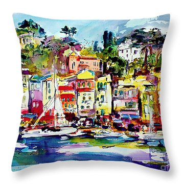 Portofino Italian Riviera Throw Pillow
