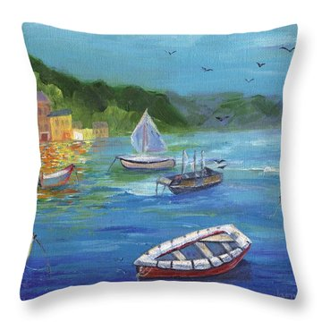 Throw Pillow featuring the painting Portofino, Italy by Jamie Frier