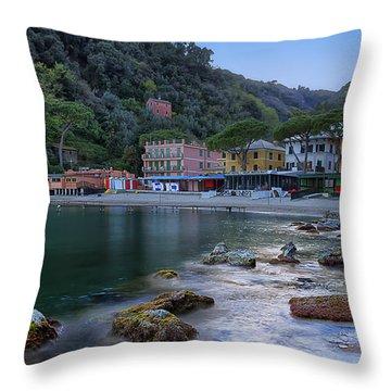 Portofino Mills Valley With Paraggi Bay And Beach Throw Pillow