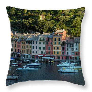 Throw Pillow featuring the photograph Portofino Morning Panoramic II by Brian Jannsen