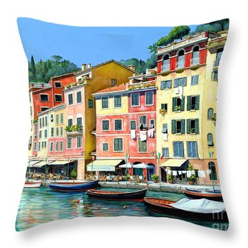 Throw Pillow featuring the painting Portofino Sunshine 30 X 40 by Michael Swanson