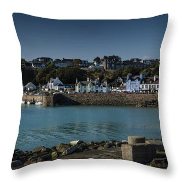 Portpatrick Harbour And Lighthouse Throw Pillow