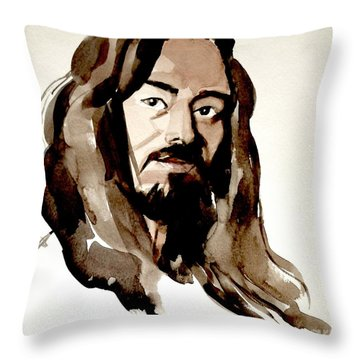 Watercolor Portrait Of A Man With Long Hair Throw Pillow