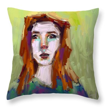 Throw Pillow featuring the digital art Portrait - 02aug2017 by Jim Vance