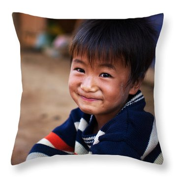 portrait baby Hmong Throw Pillow