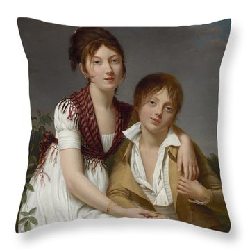 Portrait D'amelie-justine Et De Charles-edouard Pontois Throw Pillow by Celestial Images