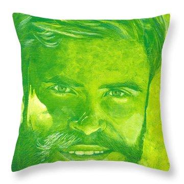 Portrait In Green Throw Pillow
