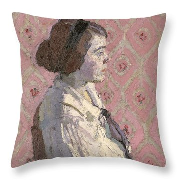 Portrait In Profile Throw Pillow by Harold Gilman