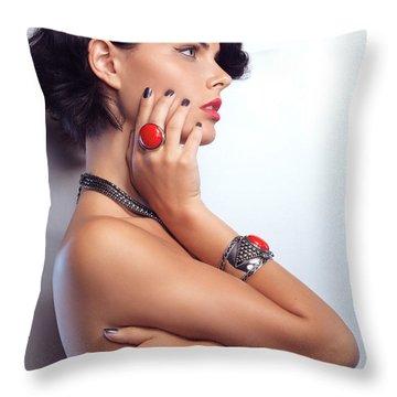 Portrait Of A Beautiful Woman Wearing Jewellery Throw Pillow by Oleksiy Maksymenko