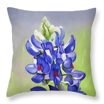 Portrait Of A Bluebonnet Throw Pillow