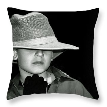 Portrait Of A Boy With A Hat Throw Pillow