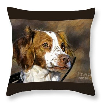 Throw Pillow featuring the photograph Portrait Of A Brittany - D009983-a by Daniel Dempster