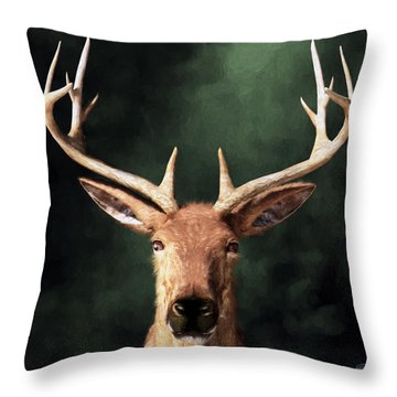 Throw Pillow featuring the digital art Portrait Of A Buck by Daniel Eskridge