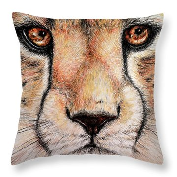Portrait Of A Cheetah Throw Pillow by Heidi Kriel