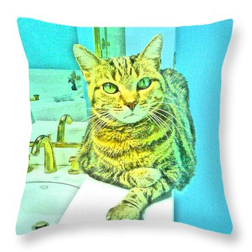 Portrait Of A Feline Throw Pillow