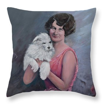 Maggie And Caruso -portrait Of A Flapper Girl Throw Pillow