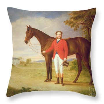 Portrait Of A Gentleman With His Horse Throw Pillow by English School