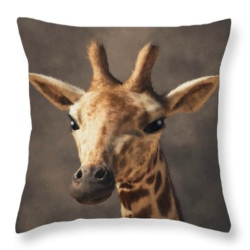 Throw Pillow featuring the digital art Portrait Of A Giraffe  by Daniel Eskridge