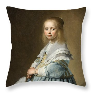 Portrait Of A Girl Dressed In Blue By J. Cornelisz Throw Pillow