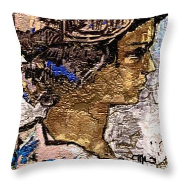 Throw Pillow featuring the digital art Portrait Of A Girl Pog2 by Pemaro