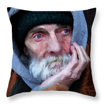 Portrait Of A Homeless Man Throw Pillow