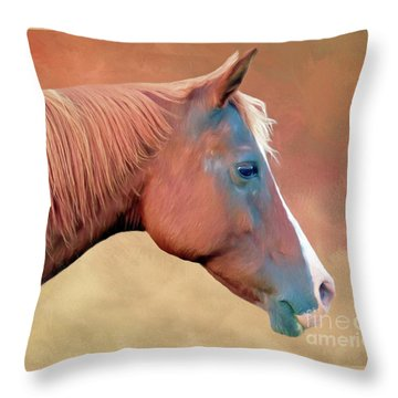 Portrait Of A Horse Throw Pillow by Marion Johnson