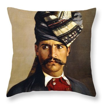 Portrait Of A Khattack In Military Headdress Throw Pillow