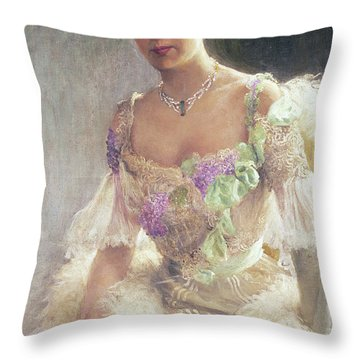 Portrait Of A Lady In Evening Dress, 1903 Throw Pillow
