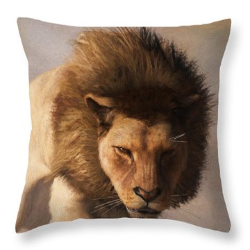 Portrait Of A Lion Throw Pillow by Daniel Eskridge