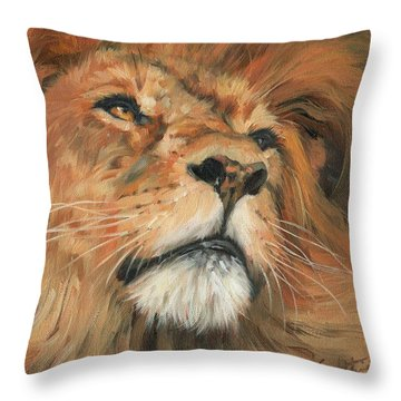 Portrait Of A Lion Throw Pillow by David Stribbling