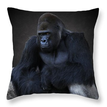 Portrait Of A Male Gorilla Throw Pillow