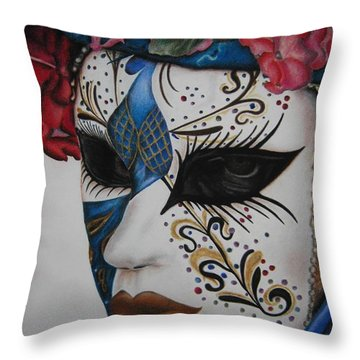 Portrait Of A Mask. Throw Pillow