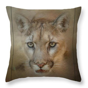 Portrait Of A Mountain Lion Throw Pillow