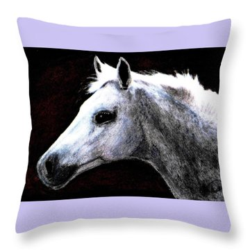Portrait Of A Pale Horse Throw Pillow by Angela Davies