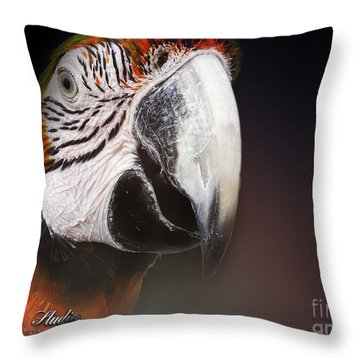 Portrait Of A Parrot Throw Pillow by Melissa Messick