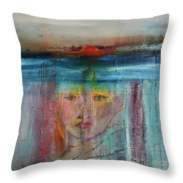 Throw Pillow featuring the painting Portrait Of A Refugee by Kim Nelson