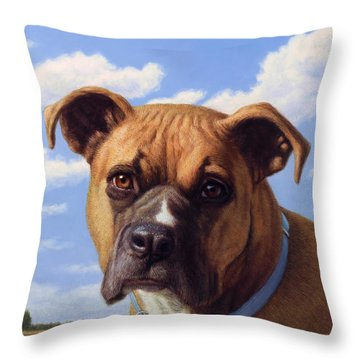 Throw Pillow featuring the painting Portrait Of A Sweet Boxer by James W Johnson