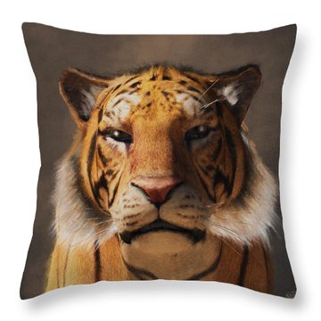 Portrait Of A Tiger Throw Pillow by Daniel Eskridge