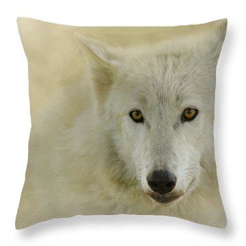 Portrait Of A Timber Wolf Throw Pillow
