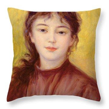 Portrait Of A Woman Throw Pillow by Pierre Auguste Renoir