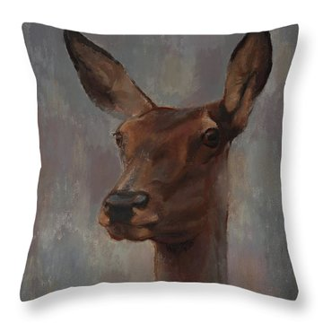 Portrait Of A Young Doe Throw Pillow