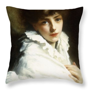 Portrait Of A Young Girl In White Throw Pillow