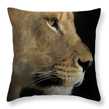 Portrait Of A Young Lion Throw Pillow by Ernie Echols