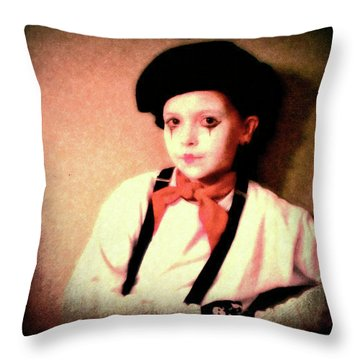 Portrait Of A Young Mime Throw Pillow