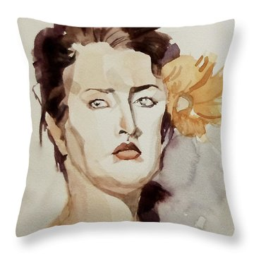 Portrait Of A Young Woman With Flower Throw Pillow