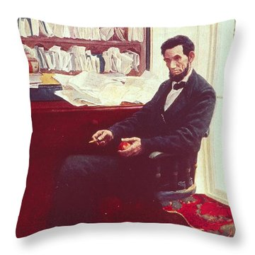 Portrait Of Abraham Lincoln Throw Pillow by Howard Pyle