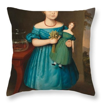 Portrait Of Amy Philpot In A Blue Dress With Doll And Goldfish Throw Pillow