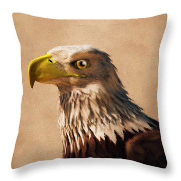 Throw Pillow featuring the digital art Portrait Of An Eagle by Daniel Eskridge