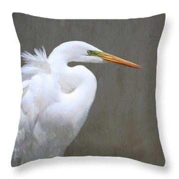 Portrait Of An Egret Rectangle Throw Pillow