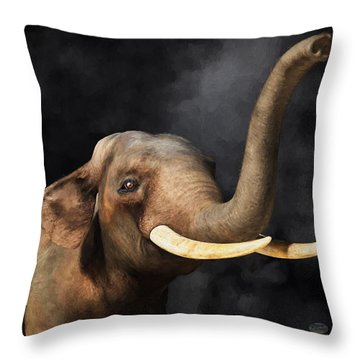 Throw Pillow featuring the digital art Portrait Of An Elephant by Daniel Eskridge